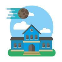 edificio escolar con escena lunar vector