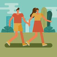 young couple walking outdoors vector