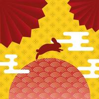 mid autumn festival poster with rabbit jumping vector