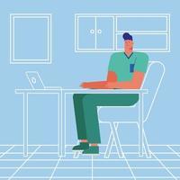 personaje médico en la oficina vector