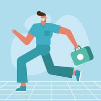 Doctor character running with medical kit vector