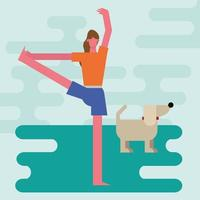 young woman doing yoga indoors vector