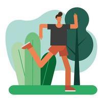 young man running outdoors vector