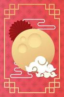 mid autumn festival poster with moon and clouds vector