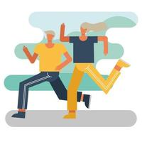 young couple running outdoors vector