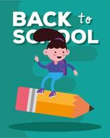 Cute back to school banner with student girl vector