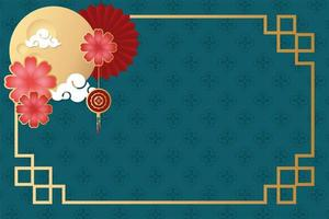 mid autumn festival poster with moon and flowers vector