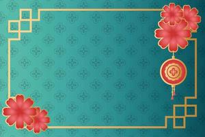 mid autumn festival poster with flowers and lamp hanging vector