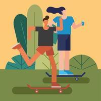 young couple riding skateboards vector