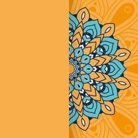 decorative floral mandala with orange background vector
