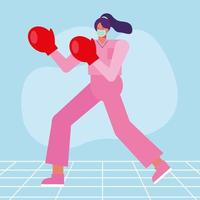 professional female surgeon wearing boxing gloves vector