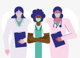 professional female doctors wearing medical masks vector