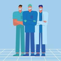 Health care workers wearing medical masks vector