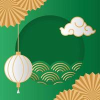 mid autumn festival poster with lamps hanging vector