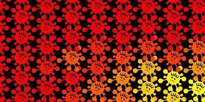 Dark red, yellow vector background with covid-19 symbols.