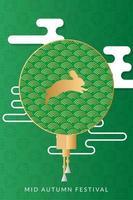 mid autumn festival poster with golden rabbit vector