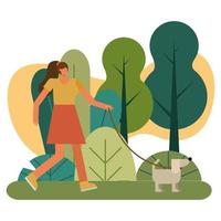 young woman walking the dog outdoors vector