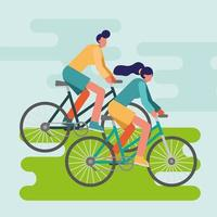 young people riding bikes outdoors vector