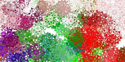 Fondo de vector multicolor claro con copos de nieve de Navidad.