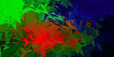 Dark multicolor vector background with triangles.