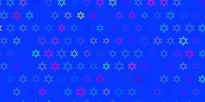 textura de vector de color rosa oscuro, azul con símbolos de enfermedades.