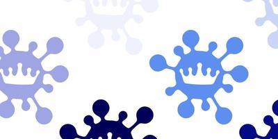 patrón de vector azul claro con elementos de coronavirus.