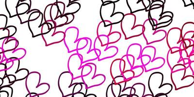 Light Pink vector background with Shining hearts.
