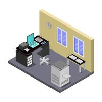 Isometric Office Room On White Background