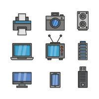conjunto de iconos de electrónica