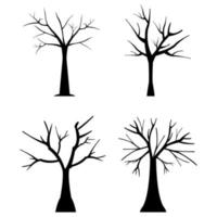 Set Of Dry Trees On White Background vector