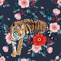 patrón transparente rosa roja y rosa flores rosas silvestres sobre fondo negro. ilustración vectorial dibujo a mano doodle. para diseño de papel tapiz usado, tela textil o papel de regalo. vector