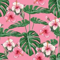 Seamless pattern pink Hibiscus flowers and monstera green leaf on isolated pastel background. Vector illustration dry watercolor hand drawing stlye. Fabric design texitle