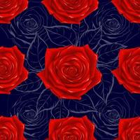 Seamless pattern beautiful red Rose flowers on abstract dark bllue background. Vector illustration hand drawing line art.
