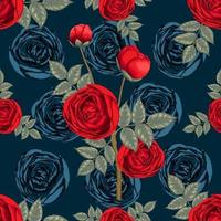 Seamless pattern beautiful red Rose flowers on dark blue abstract background. Vector illustration dry watercolor hand drawing line art style. For fabric design