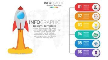 Infografía de inicio de 6 pasos con lanzamiento de cohete. concepto de negocios y finanzas. vector