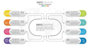 Infograph 8 element with center circle. graphic chart diagram, business timeline graphic design with icons. vector