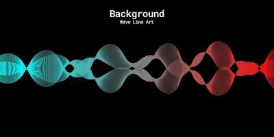 Modern abstract background with wavy lines in red and blue gradations vector