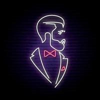 letrero de neón ligero con elegante caballero. vector