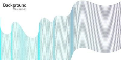 Modern abstract background with wavy lines in blue gradations vector