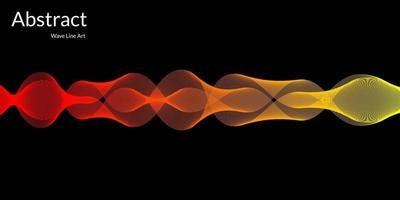 Modern abstract background with wavy lines in red and yellow gradations vector