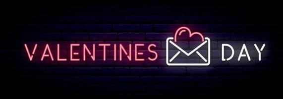 Long neon banner with inscription Valentines Day vector
