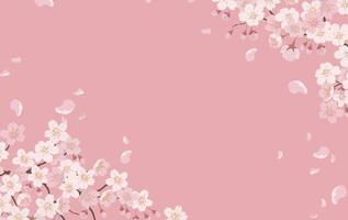 Floral Background With Cherry Blossoms In Full Bloom On A Pink Background. vector