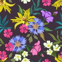 Colorful seamless pattern with botanical floral design on dark background. vector