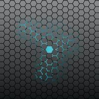 Abstract Hexagonal tile dark background with neon light.