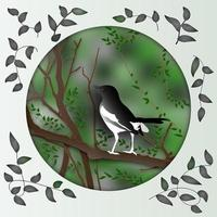 Paper cut design of magpie bird on tree branch vector
