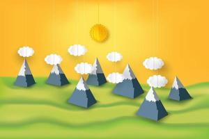 Paper cut 3D design of mountain scene view of the weather vector