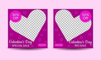 Valentine's day media post templates vector