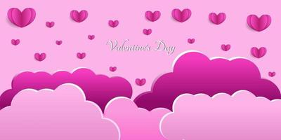 Happy Valentines Day Heart Background in paper cut style vector