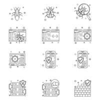 iconos de seguridad cibernética vector