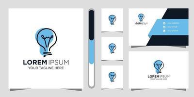 light bulb creative logo design and business card vector